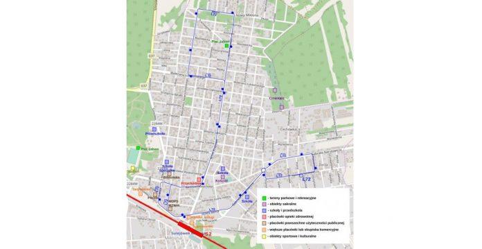 Trasy linii autobusowych oraz przystanków w Sulejówku