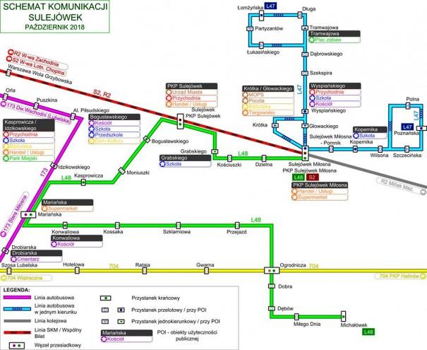 Trasy linii autobusowych w Sulejówku (Źródło: Urząd Miasta Sulejówek)