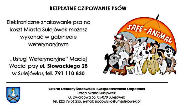 Bezpłatne czipowanie psów w Sulejówku! (Źródło: Urząd Miasta Sulejówek)