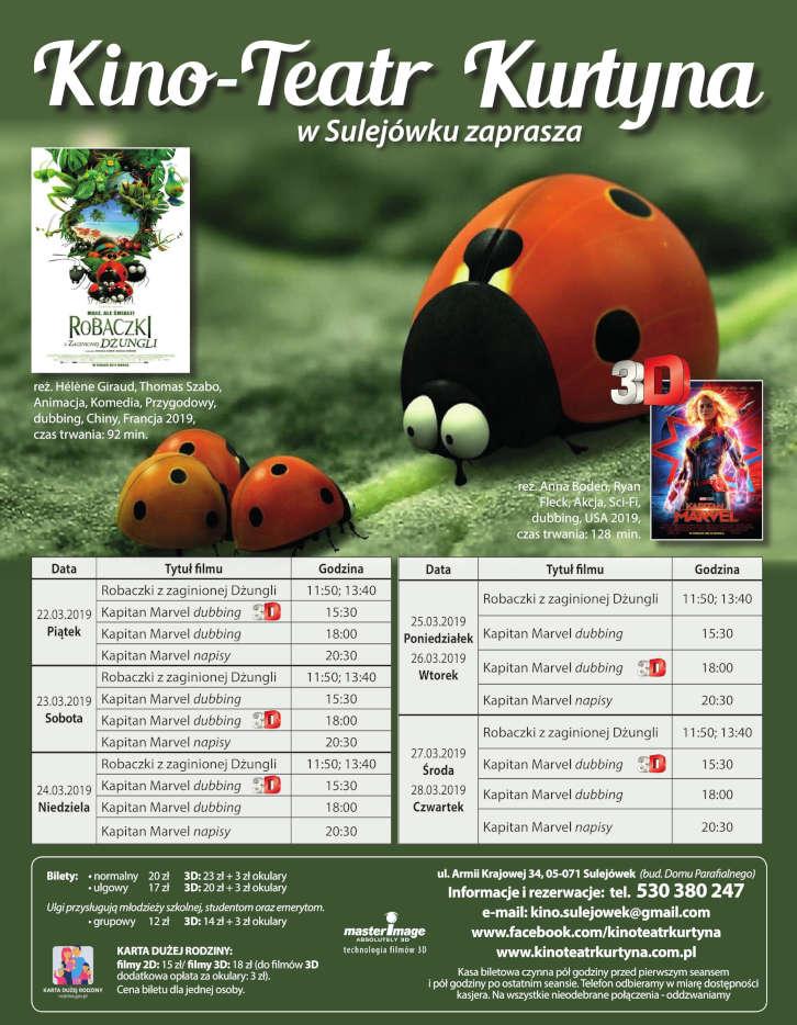 Repertuar Kino-Teatr Kurtyna w Sulejówku Miłośnie. Od 22 do 28 marca