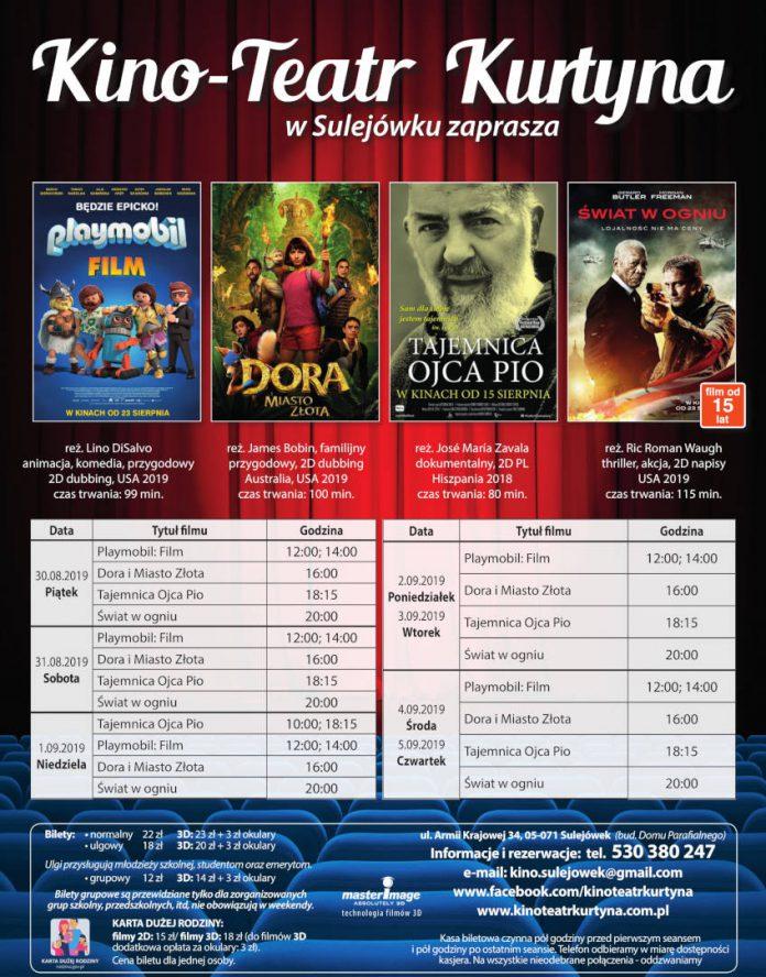 Repertuar Kino-Teatr Kurtyna. Od 30 sierpnia do 5 września