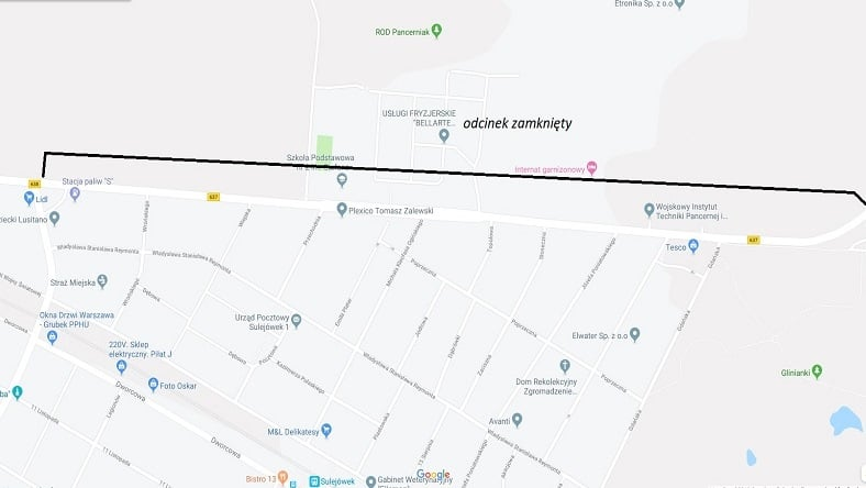 W poniedziałek 9 września od godziny 9:00 będzie zamknięta ulica Okuniewska w Sulejówku (Źródło: Urząd Miasta Sulejówek)