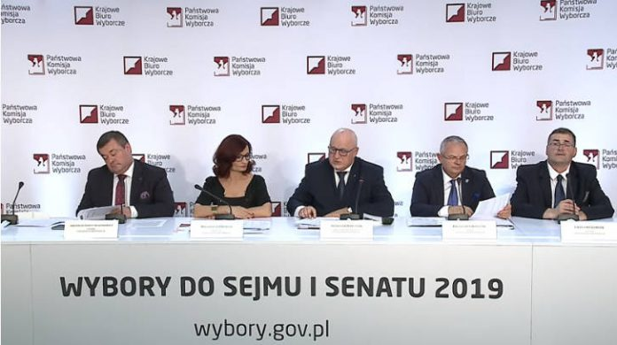 Studio Wyborcze PKW: Wybory do Sejmu i Senatu 2019 - konferencja prasowa 13.10.2019 godz. 18:30 (Źródło: www.pkw.gov.pl)