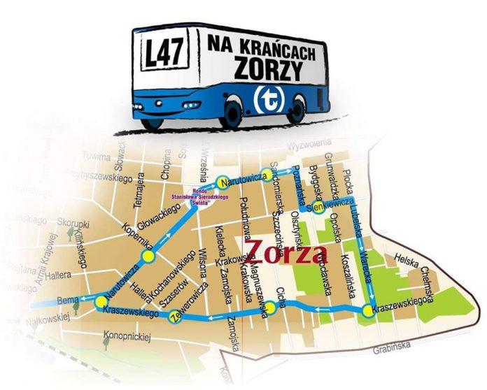 Plakat planowanej trasy linii L47 w rejon osiedla Zorza (Źródło: Urząd Miasta Sulejówek)
