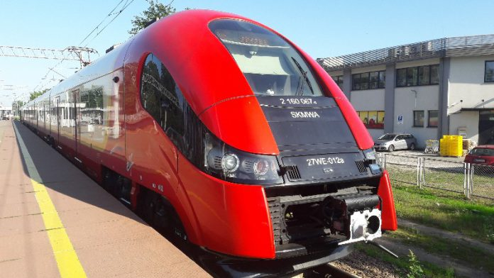Pociąg Szybkiej Kolei Miejskiej na stacji PKP Sulejówek Miłosna (Fot. Hubert Wasilewski)