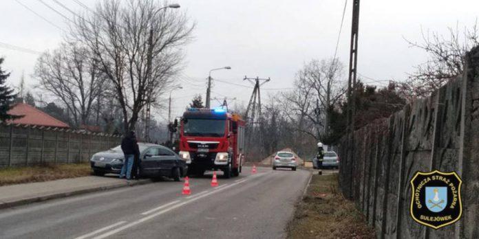 Zderzenie na ulicy Przejazd w Sulejówku (Źródło: OSP Sulejówek)